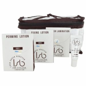 Lash Super Booster Lash Lift and lamination mini kit contains the essentials for the treatment: perming lotion, fixing lotion, lamination cream and glue.
